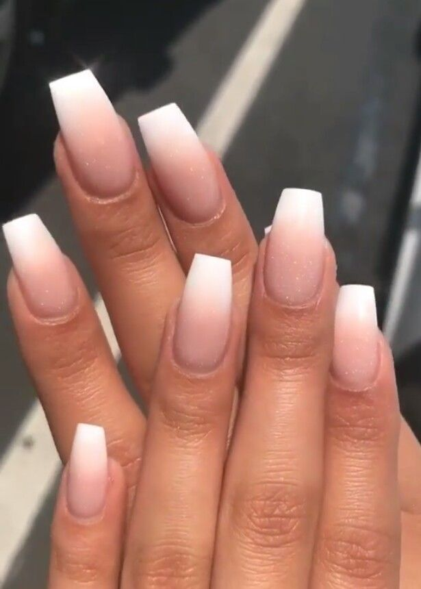 Nude ombre nails with white tip