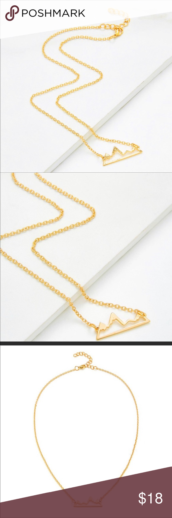 Photo of Gold Mountain Peak Dainty Necklace Beautiful gift for bff or to yourself! Perfec…
