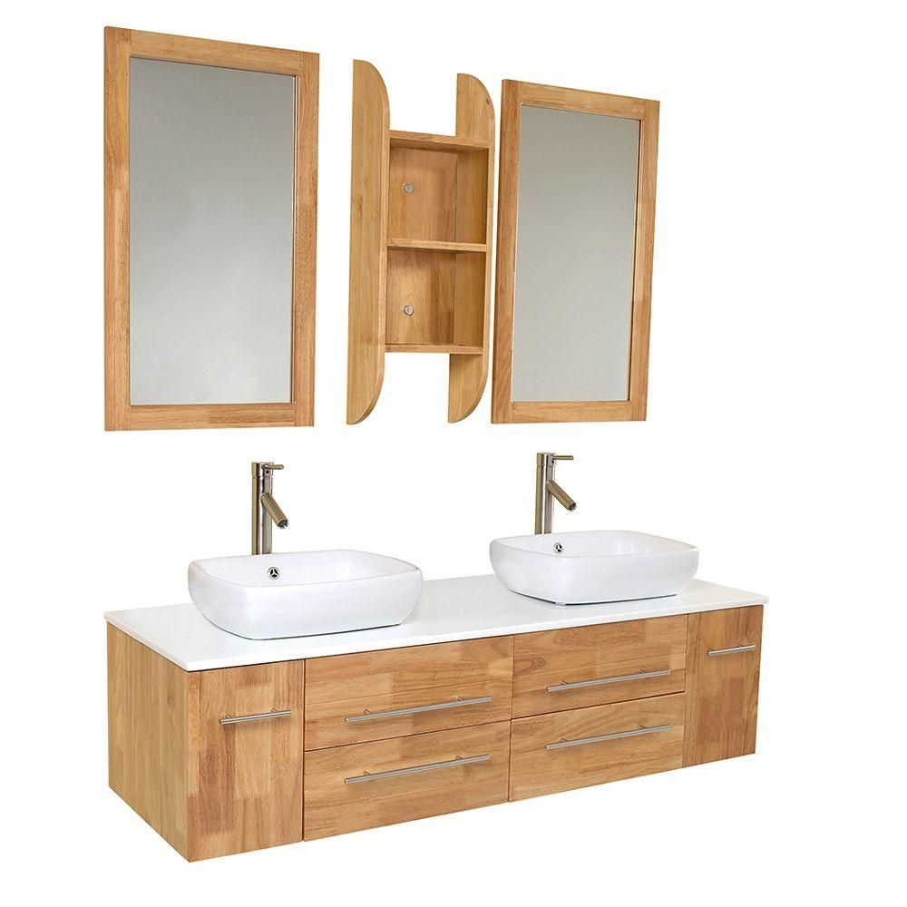 Double Vanity In Natural Wood With Marble Top White Basinirror Fvn6119nw The Home Depot
