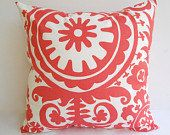 Decorative Throw Pillow Covers Cushion Covers - 20 x 20 Coral Suzani Pillow. $18.00, via Etsy.
