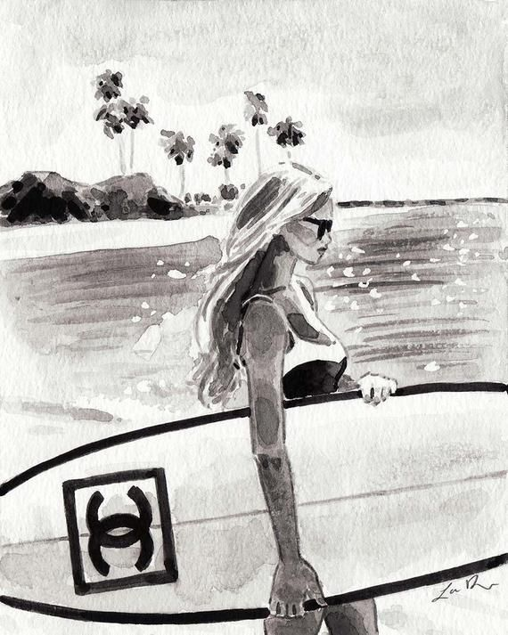 Photo of Chanel Surf Art Fashion Illustration Chanel Surfboards Print Watercolor Coco Chanel Surfboard Fashio