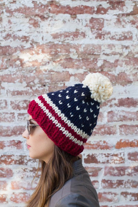 American Flag Beanie Fair Isle Beanie USA by BoPeepsBonnets #american #beanie #bopeepsbonnets #knitbeanie #americanflag