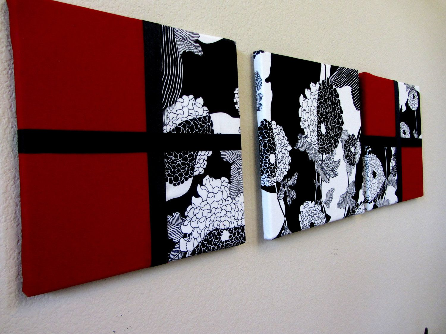 Fabric Wall Art Set Of 3 Black And White Wall By WHIMZeesWallART. $56.00,  Via