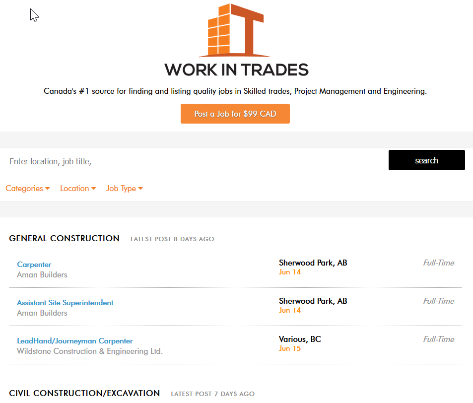 Find jobs in Skilled trades, Project Management and