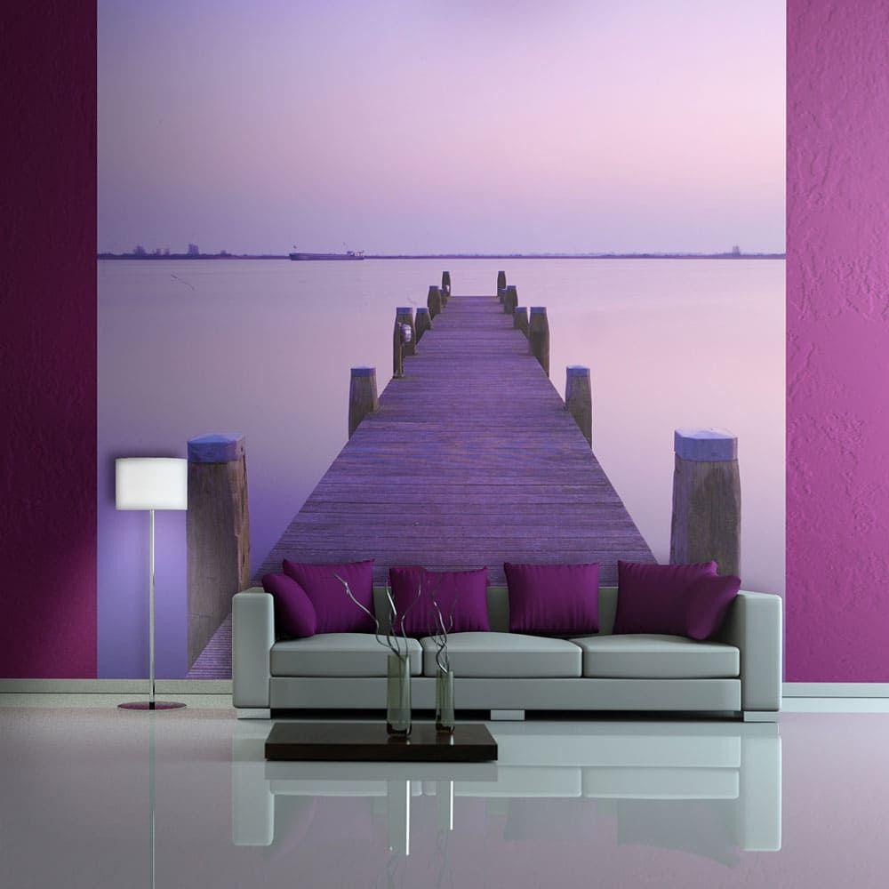 Papier Peint Effet Miroir papier peint – coucher de soleil violet – ponton sur le lac