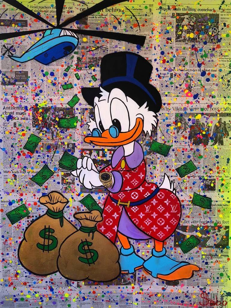 Original Cartoon Painting by Yuliya Sabo   Pop Art Art on Canvas   #Rich Duck