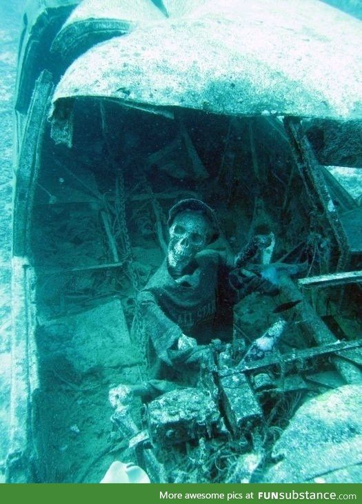 Underwater airplane wreckage