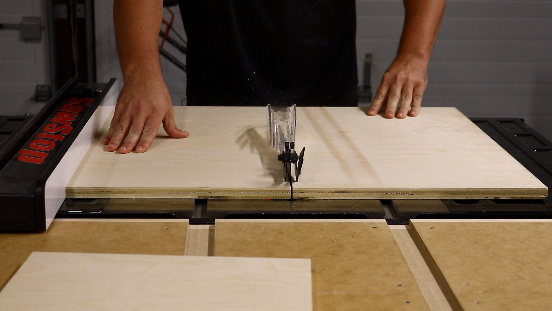 Breaking down the plywood Drill press table, Woodworking