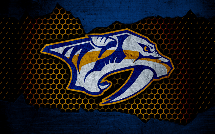 Download Wallpapers Nashville Predators 4k Logo Nhl