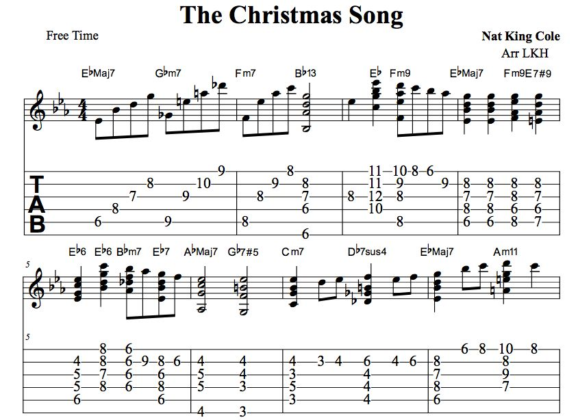 The Christmas Song Guitar Chords Chord Melody Tab Video Lessons