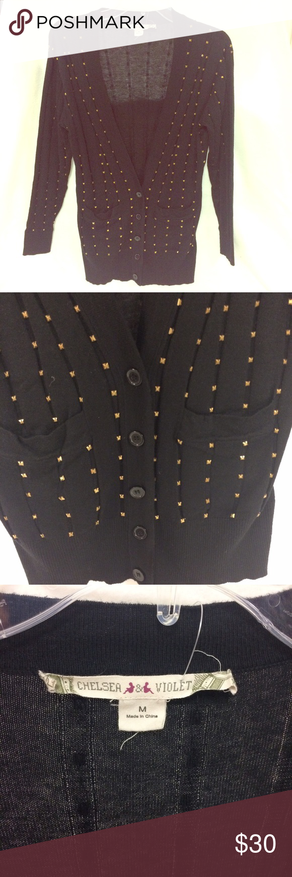 🎩Chelsea & Violet Cardigan Cute Chelsea & Violet Cardigan, black with gold sequin studs. Very soft, great condition! No signs of wear and no studs missing. Chelsea & Violet Sweaters Cardigans