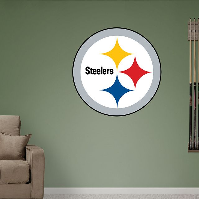 Fathead u2013 Peel u0026 Stick Wall Graphic | Pittsburgh Steelers Wall Decal | Sports Home Decor | Football Bedroom/Man Cave/Nursery & Pittsburgh Steelers Logo - Giant Officially Licensed NFL Removable ...