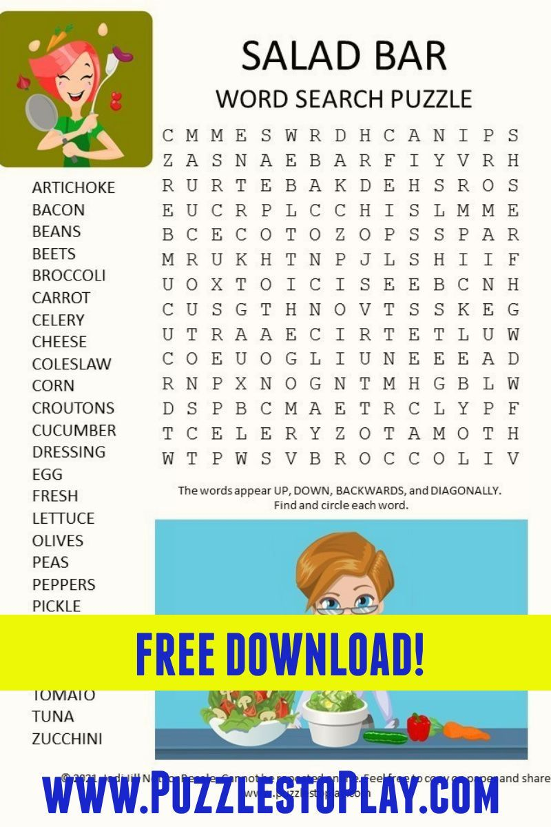 Salad Bar Word Search Puzzle Kids Pages Printable Puzzles Free Puzzles [ 1200 x 800 Pixel ]