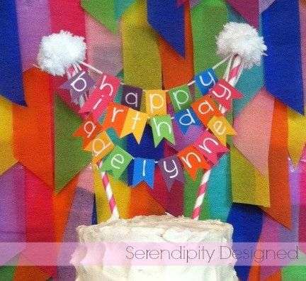 Rainbow Pennant Name Cake Banner Topper By SerendipityDesigned 2500 First Birthday Party