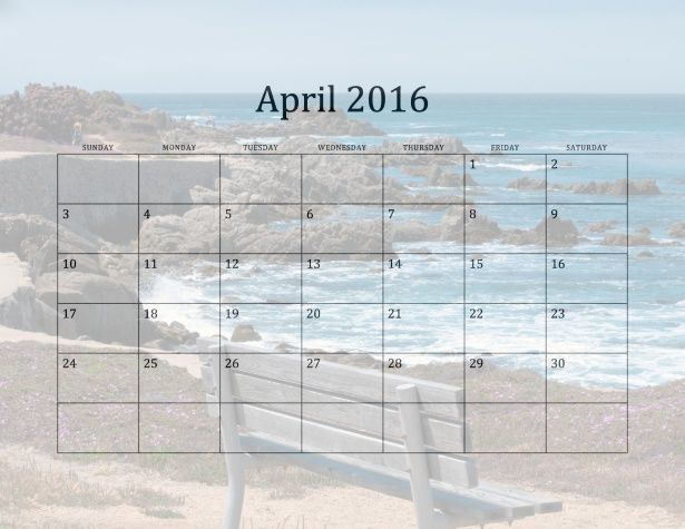 Calendar for 2016 with California Beaches in the background. April shows a bench along the rocky shoreline of Monterey Bay