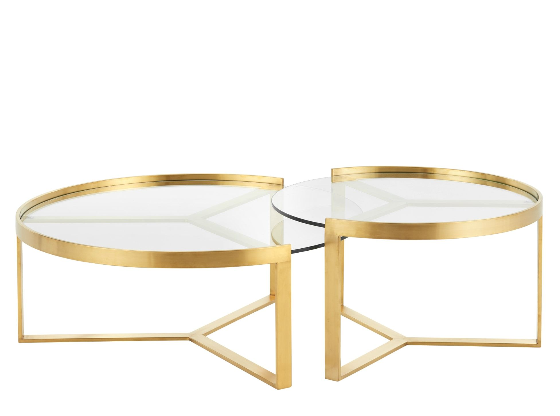 Aula Tables Basses Gigognes Laiton Brosse Et Verre Nesting Coffee Tables Living Room Coffee Table Brass Coffee Table