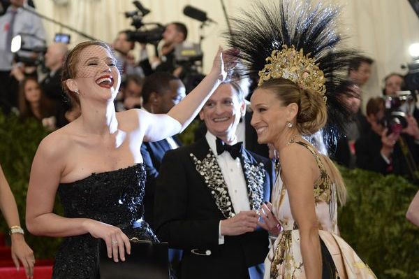 My favourite photo from the 2013 Met Gala - SJP and JLaw having fun on the red carpet!
