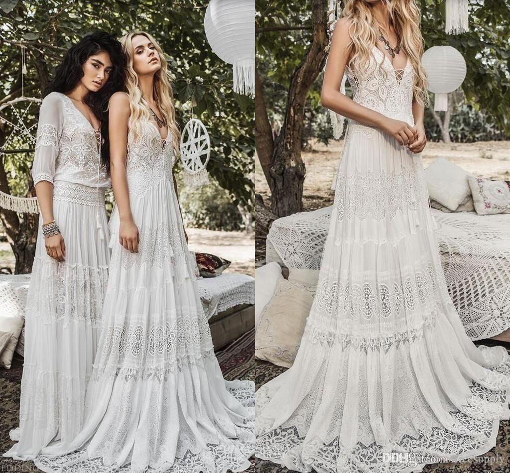 Discount2019 Bohemian Wedding Dresses Halter Deep V Neck Luxury Embroidery Sweep Train Backless Bridal Gowns Custom Made Beach Boho Wedding Dress From Dressvip Roupas Para Casamento Vestidos Casamento [ 950 x 1024 Pixel ]