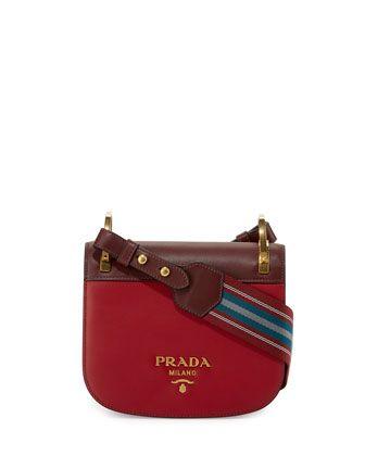 791145cc83c8 Pionnière+Web-Strap+Shoulder+Bag,+Red+(Rubino/Granato)+by+Prada +at+Neiman+Marcus.