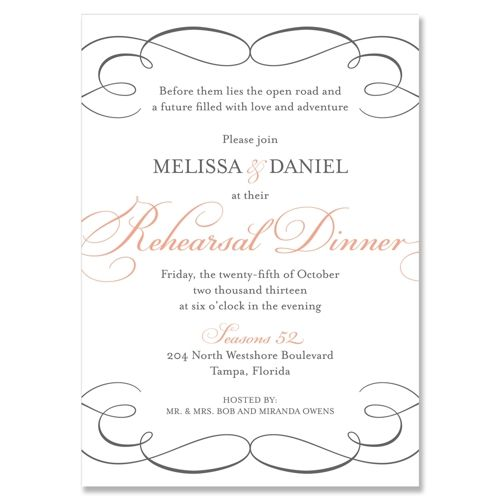 formal rehersal dinner table scapes Bella Rehearsal Dinner - formal dinner invitation sample