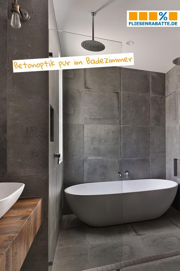 Fliesen In Betonoptik Sind Immer Noch Der Trend Im Badezimmer Gleiche Formate An Den Wanden Und Auf Dem Boden Badezimmer Neubau Betonoptik Badezimmer