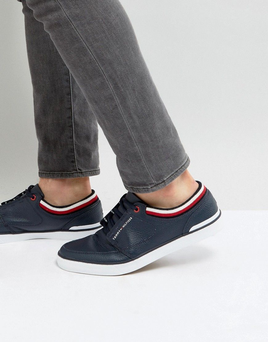 1110f87f8 Get this Tommy Hilfiger s sneakers now! Click for more details. Worldwide  shipping. Tommy Hilfiger Harrington Trainers Leather in Navy - Navy   Trainers by ...