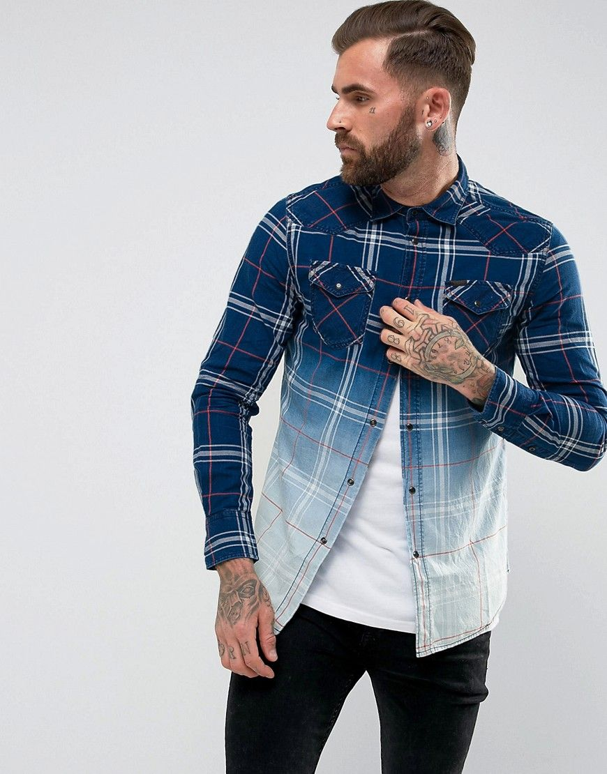1f2bec4a3d DIESEL S-COURTY SHIRT LONG SLEEVE OMBRE CHECK - BLUE.  diesel  cloth ...