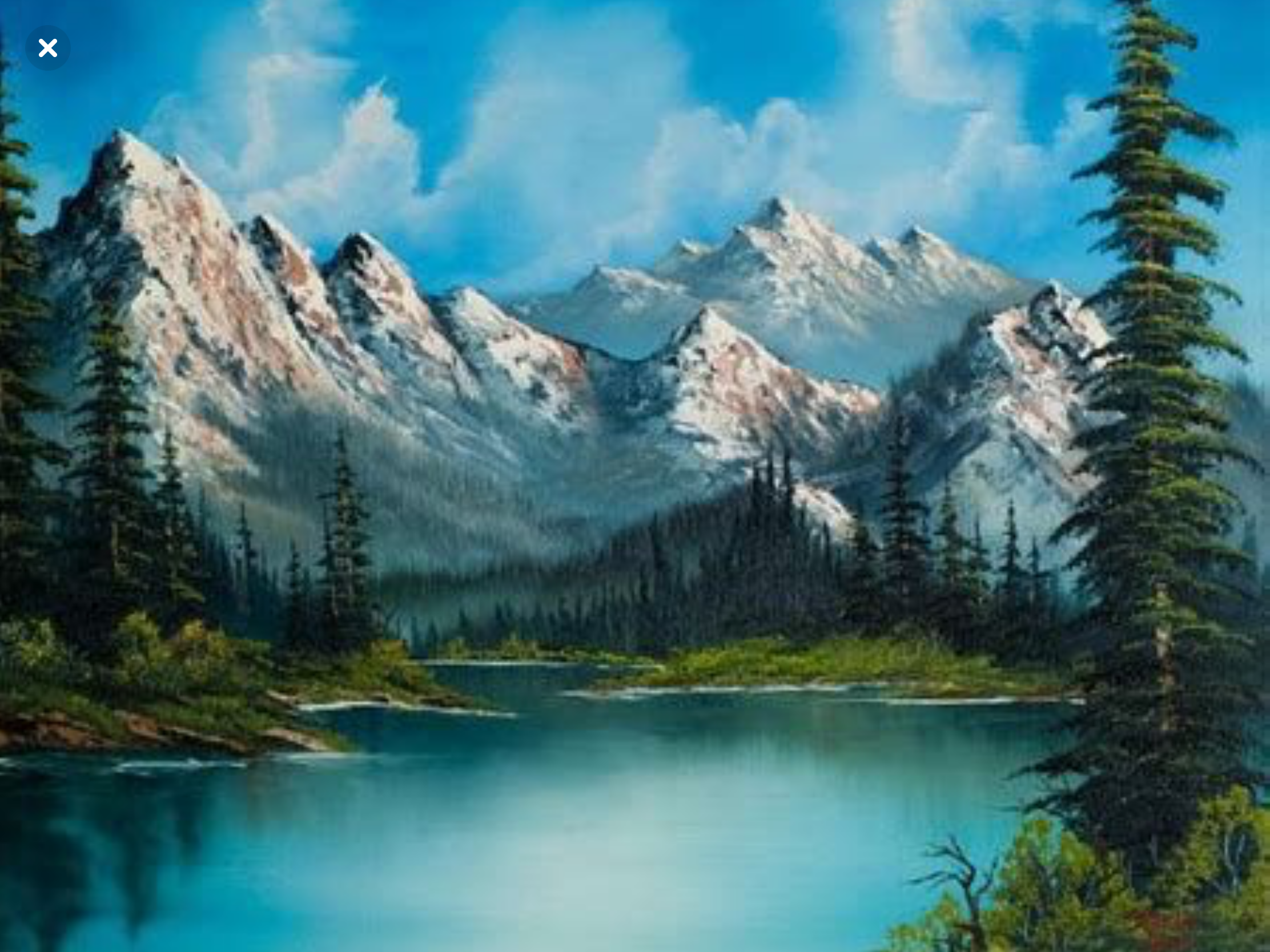 Pin By نسیم ابی On Peinture Mountain Paintings Landscape Paintings Bob Ross Paintings