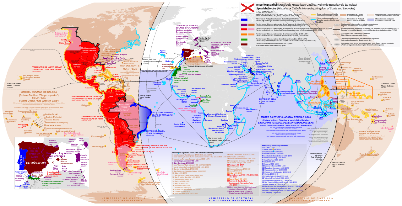 Map Of Spain 1500.Anachronous Map Of The Spanish Empire Including Territorial Claims