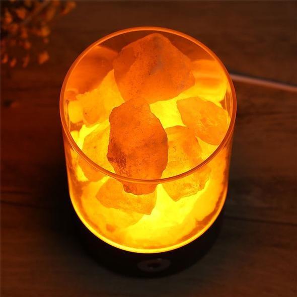 Une Lampe Volcanique Himalayen Cristal Sels Naturel Purificateur D