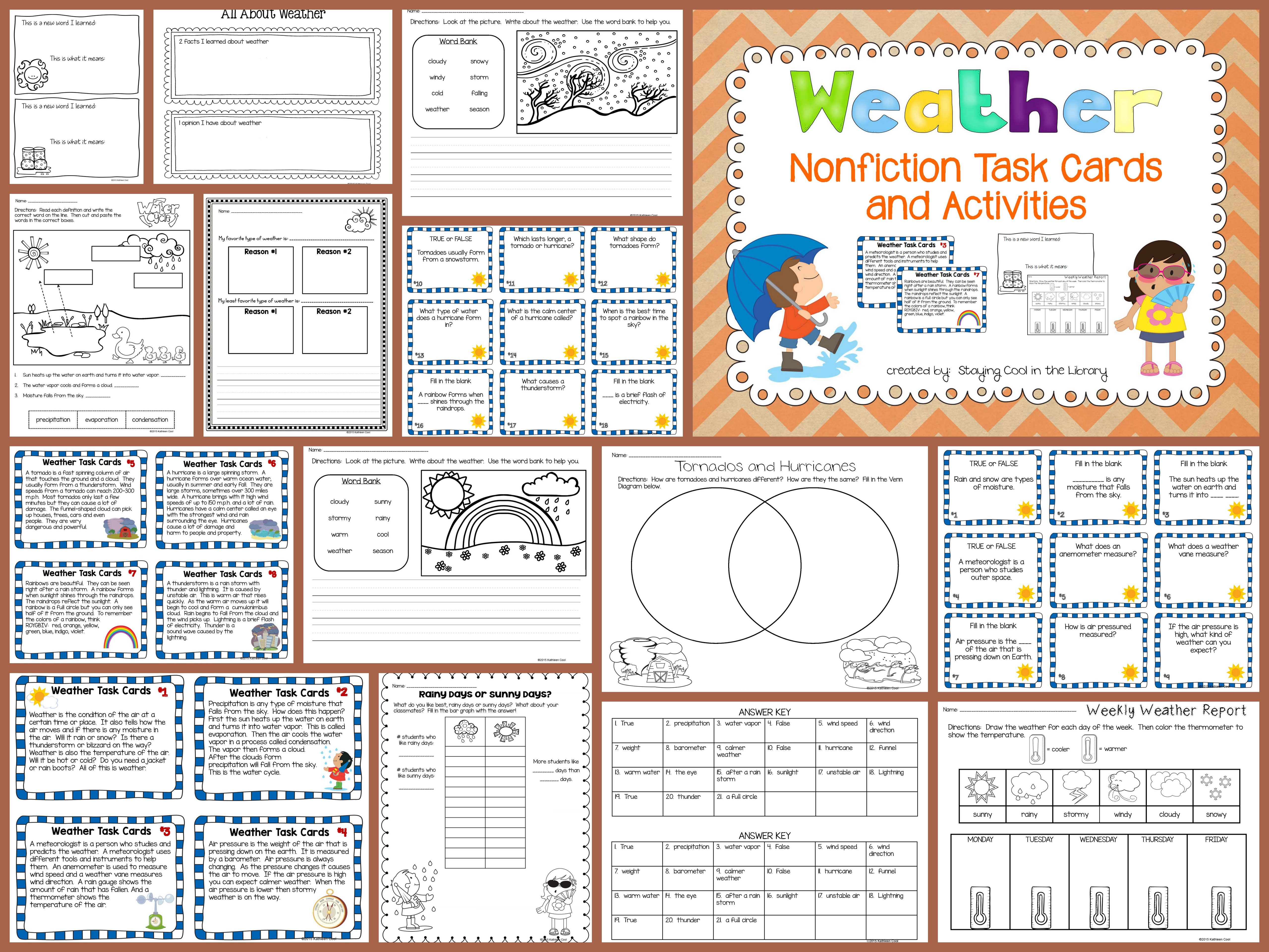Weather Nonfiction Task Cards And Worksheets Printables