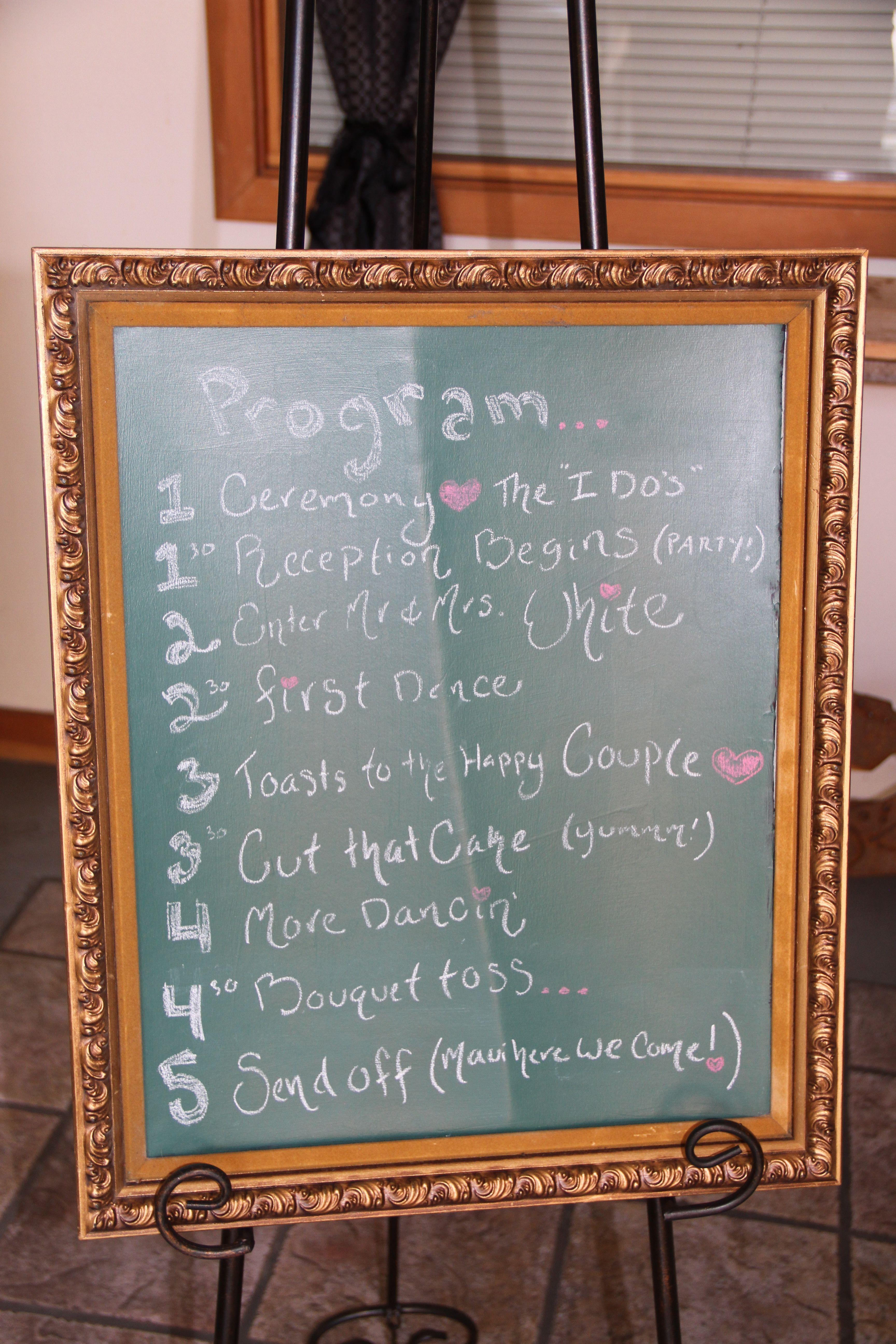 DIY Wedding Program: Large piece of cardboard, chalkboard paint, and ...