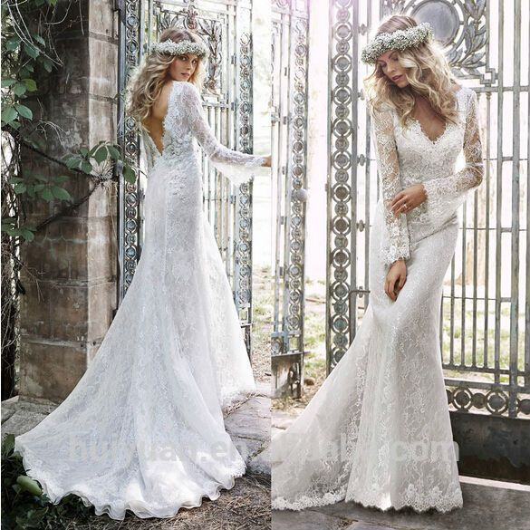 Charming Low Back Cut Long Sleeve Lace Grecian Style Wedding Dresses ...