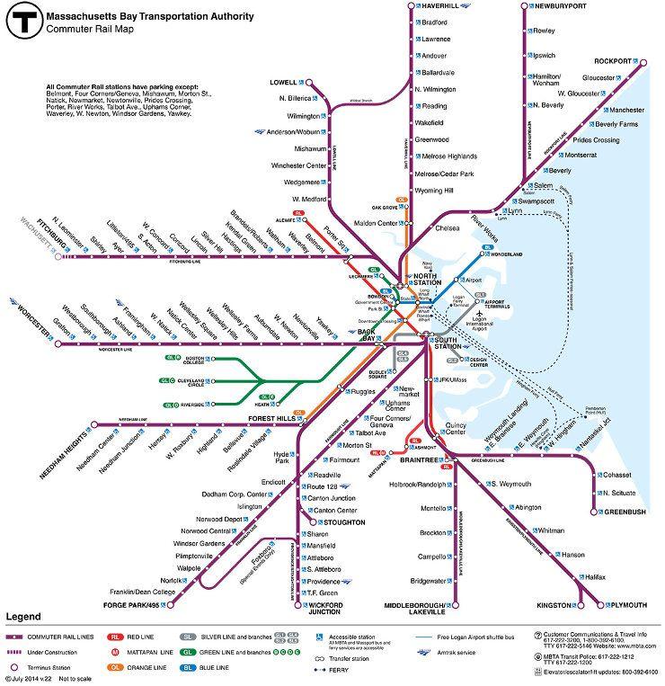 Commuter Rail System Map - Boston/Salem | Urban ...
