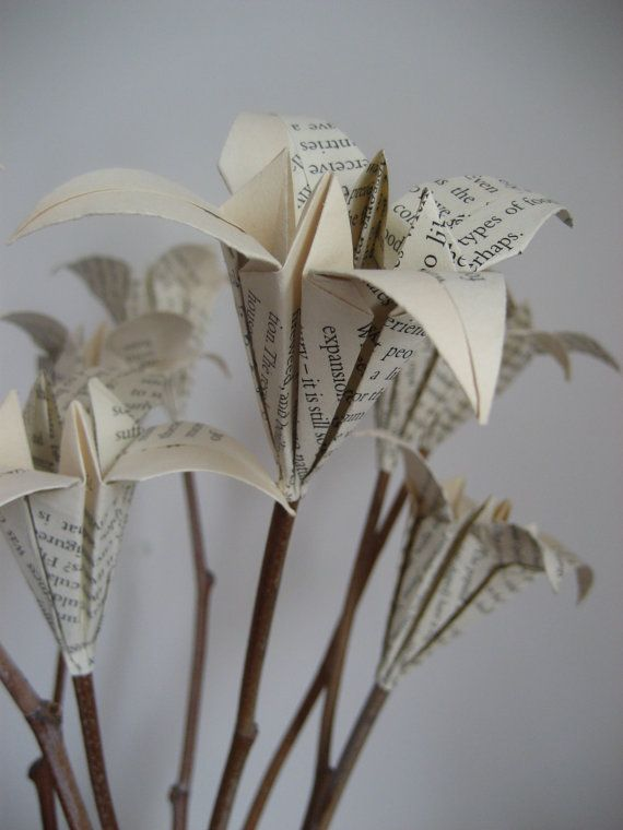 Book page lily bouquet on natural twigs upcycled origami 10 stems origami lilies are made of old unwanted book page they are carefully stuck on to natural sticks surely they will brighten any corner of mightylinksfo