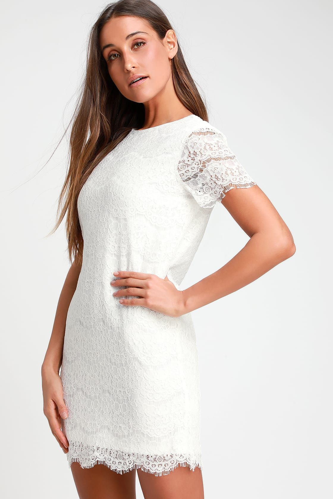 Take Me To Brunch Ivory Lace Shift Dress Lace Shift Dress White Long Sleeve Shift Dress White Dresses For Women [ 1680 x 1120 Pixel ]