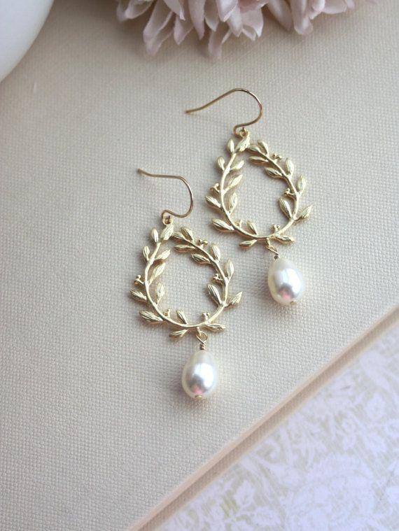 Laurel Wreath Earrings. Cream Ivory Teardrop Pearl by Marolsha