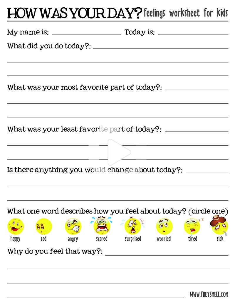 How Was Your Day Feelings Worksheet For Kids In 2020 Worksheets For Kids Emotions Activities Counseling Kids