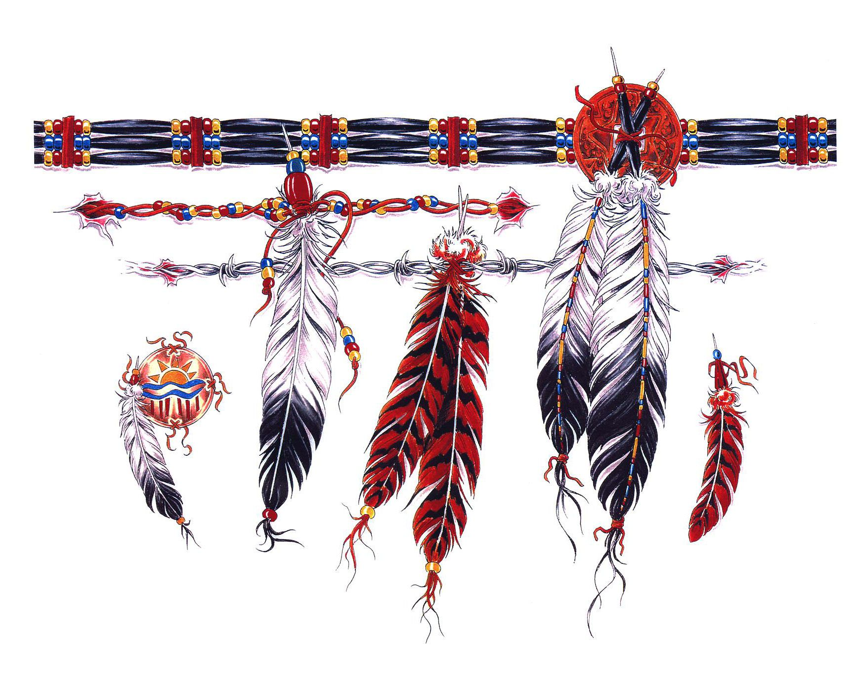 Native American Armband Tattoo Designs Pin American Feathers