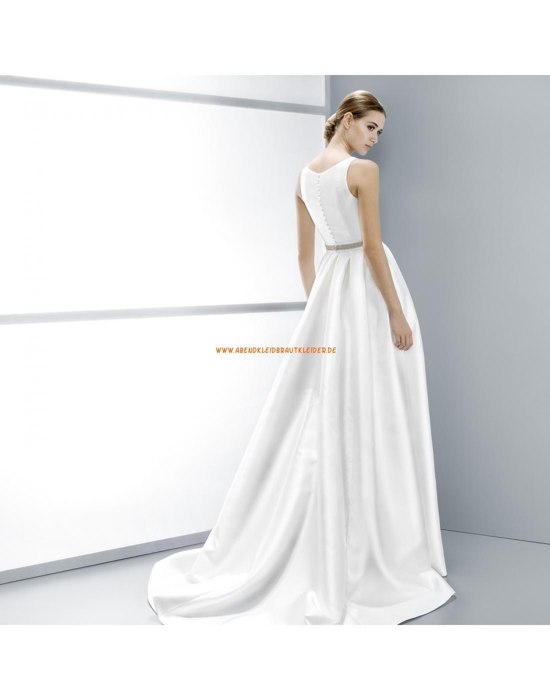 Schlichte A-linie ärmellose Hochzeitskleider aus Satin ...