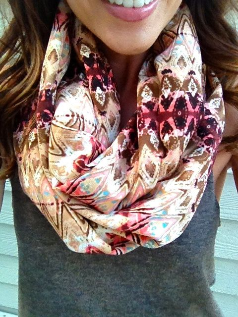 Desert Rose Ikat Infinity Scarf, #scarf, #desert, #tribal, #ikat, #infinityscarf, #circlescarf