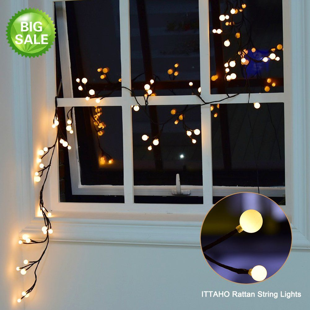 LED String Lights 8.2ft ,Rattan Iights 72 light Beads, Frosted ...