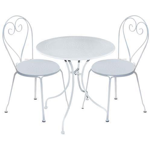 Tavolo da giardino in ferro bianco completo di due sedie for Arredo da giardino in offerta