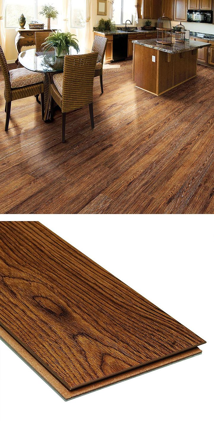 These laminate flooring planks look just like wood. The planks have an attached foam underlayment, reducing noise and providing shock absorbing cushion.