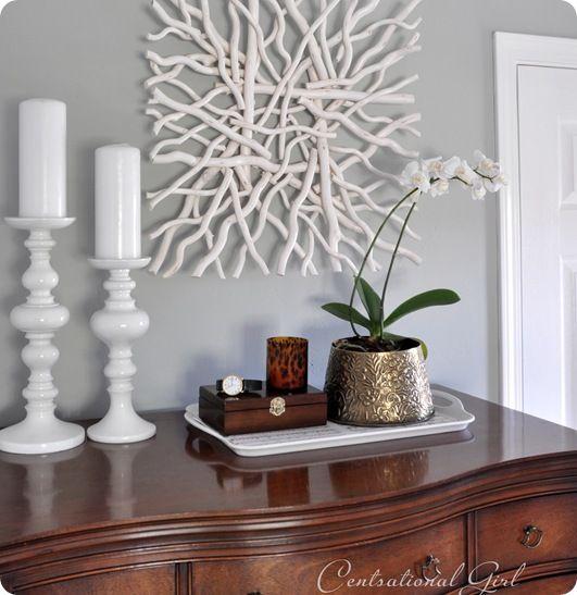 Superbe tableau avec du bois flott driftwood bois - Branche bois flotte decoration ...