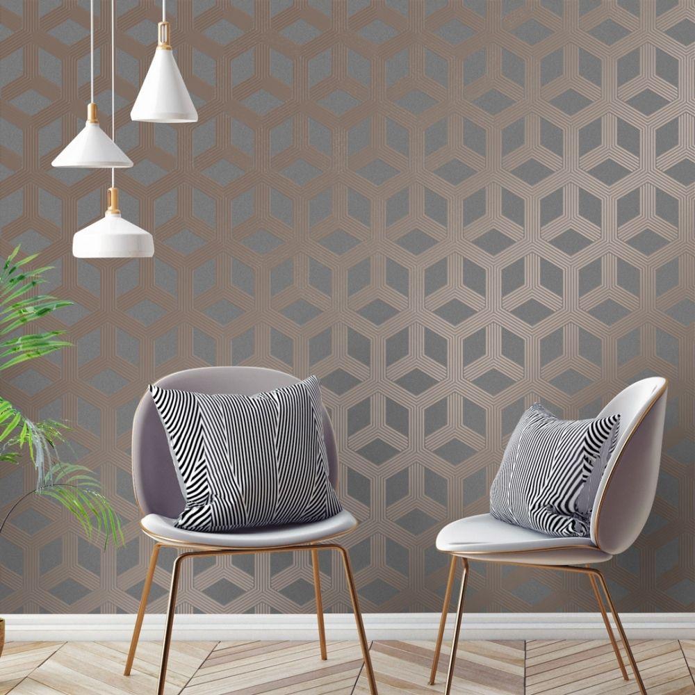 Black/Charcoal Hexa Geometric Wallpaper Charcoal, Rose