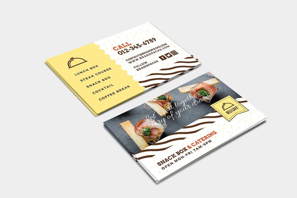 Catering Service Business Card In 2020 Catering Services Business Card Displays Business Postcards