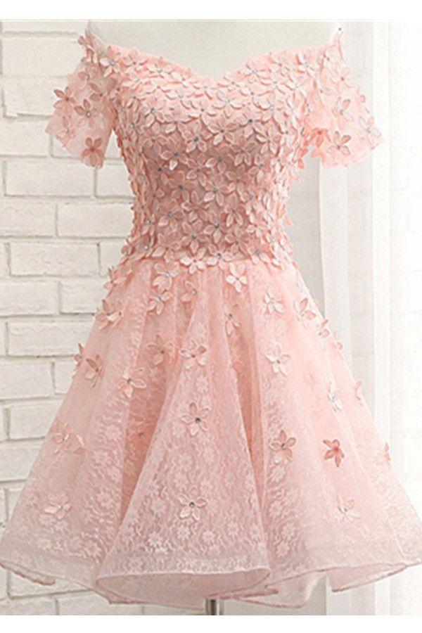 Homecoming Dresses,Applique Pink Off Shoulder Short Sleeves Lace ...