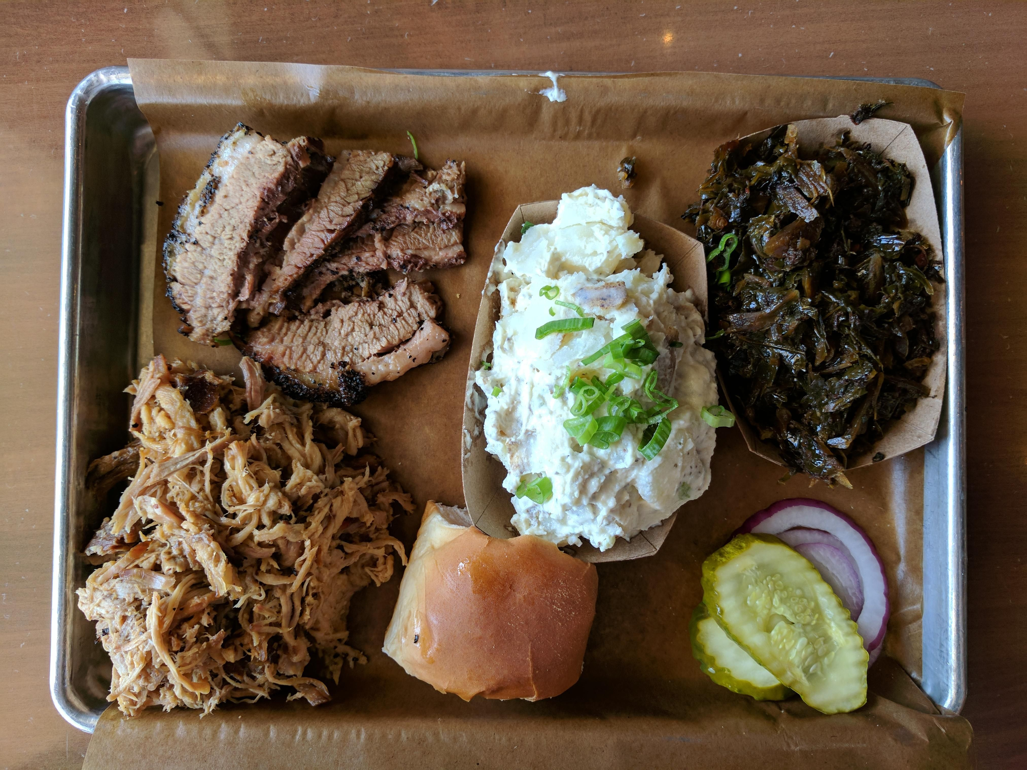 I Ate Feast Bbq Louisville Ky Pulled Pork Brisket Potato Salad And Greens Recipes Food Cooking Delicious Foodie Foodre Food Pork Brisket Pulled Pork
