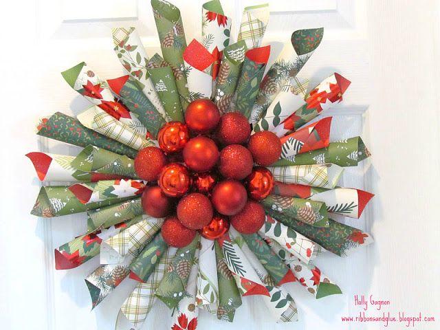 Christmas Paper Cone & Ornament Wreath